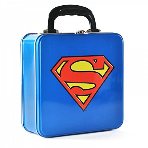 DC Comics - Superman - Blechkoffer Lunchbox Brotdose - Logo - beidseitig - Metall Batman Kostüm
