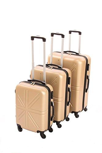 Dublin set da 3 pezzi valige trolly in ABS e policarbonato con 4 ruote girevoli 360° gradi colori vari (oro)