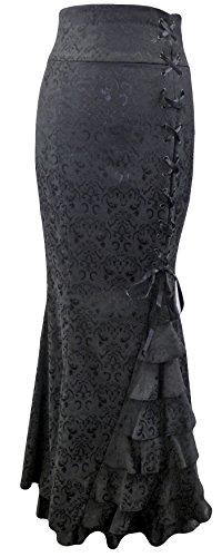 Schwarz (Brocade Fishtail Skirt) Rock in Brokat mit Schnürung. Größe 34