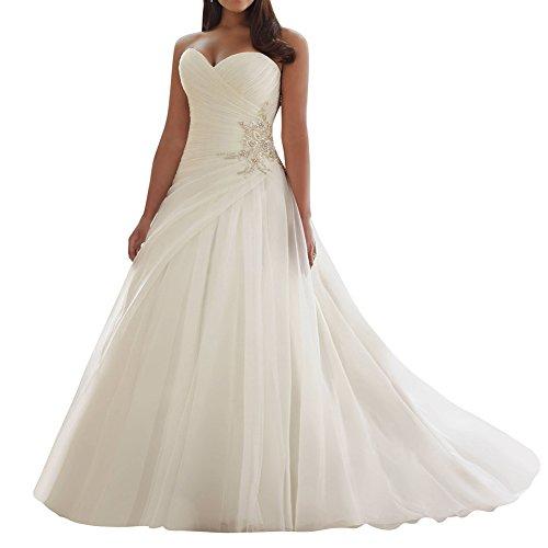 JAEDEN Damen Brautkleider Lang A Linie Tüll Hochzeitskleider Trägerlos Brautmode Kleider Elfenbein...