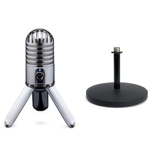 Samson Meteor Mic USB Studio/Podcast Mikrofon silber + Samson MD5 Mikrofon Tischstativ Bundle