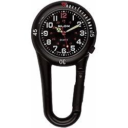 Klox Black Clip On Carabiner Metal Fob Watch Black Dial Paramedic Doctor Nurse Unisex Men Women