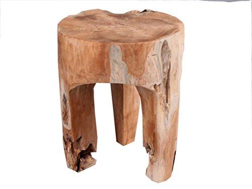 Hocker Teakholz Wurzelteakholz Ø ca. 30 cm rund Beistelltisch Massivholz Schemel Sitzhocker Fußhocker