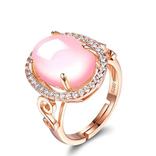 Sansar India Large Pink Opal Rose Gold Crystal Ring for Girls and Women
