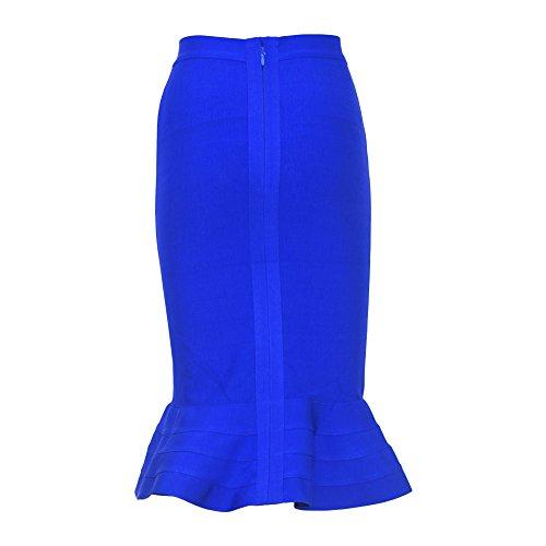 HLBandage Fishtail Knie Länge Mit Hoher Taille Ausgestelltes Hem Verband Rock Blau