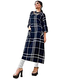 Rose Petals Fully Stitched Indo Western Reyon Check Kurti in Different Designer Cuts and Style with unique neck detailing (CHEp5007), check dress for women western, checks kurtis for women latest
