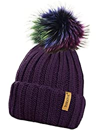 013ef4f69fecfc TOSKATOK Ladies Chunky Soft Ribbed Beanie Hat with Detachable Extra Large  Multicoloured Faux Fur Pompom