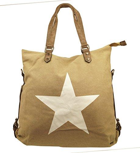 KENDT Design Canvas Shopper Damentasche Henkeltasche mit Sternapplikation, Stofftasche mit Stern, verschiedene Farben (KDF-3179) (L. Khaki) L. Khaki