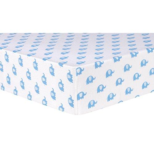 Tendencia Lab azul elefantes Deluxe franela sábana para cuna