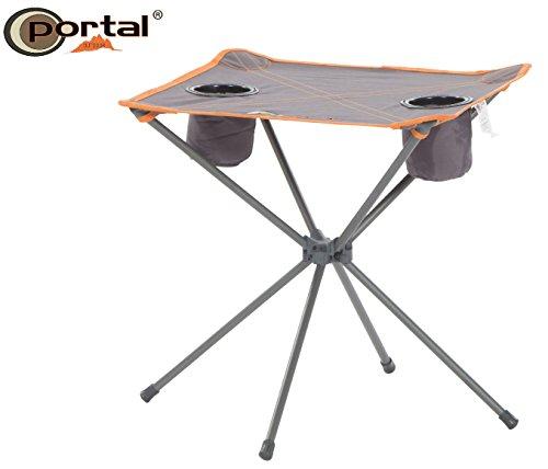 """Extra leichter Portal Camping Falttisch """"Zoe"""", 48 x 48 cm, bis 30 kg belastbar, mit zwei Getränkehaltern und inklusive Tragetasche"""