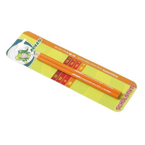Jolly Schulstift Bleistift, Härte 3H, graphit/orange (2 Stück)
