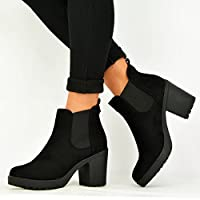 CucuFashion Womens Ladies Ankle Boots Girls Slip On Chunky Heels Winter Shoes Size UK 3-8