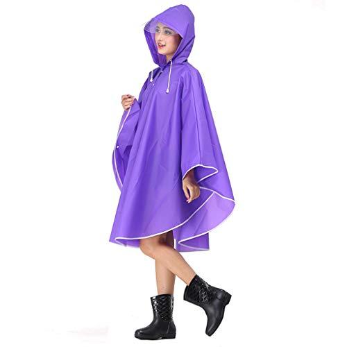 QIYUEYU Mode Eva Frauen Regenmantel Verdickt Wasserdicht Regen Mantel Frauen Klar Transparent Tour Wasserdicht Regenbekleidung Anzug (Farbe : Lila)
