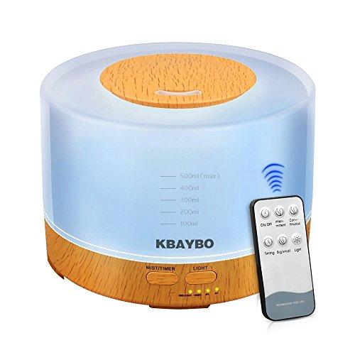 Lavendel-zimmer-diffusor (KBAYBO Es gibt Fernbedienung 500ml Cool Mist Befeuchter Ultraschall Aroma ätherisches Öl Diffusor mit 4 Timer Einstellungen 7 Farbe ändern LED für Office Home Schlafzimmer Wohnzimmer Studie Yoga Spa Holz Getreide)