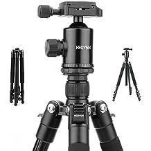 Heoysn Trípode Camara Reflex Profesional 45.5-164cm de Aluminio con Rótula de Bola Placa Rápida Liberación Trípode Compacto, Peso 1.35kg, Max: 8kg, Compacto para Canon Nikon Olympus Pentax DSLR