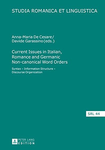 Current Issues in Italian, Romance and Germanic Non-canonical Word Orders: Syntax - Information Structure - Discourse Organization (Studia Romanica et Linguistica)