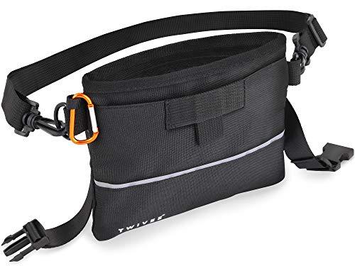 TWIVEE - Futterbeutel für Hunde - Leckerlie Beutel mit Einhand-Schnappverschluss - herausnehmbare Innentasche - Futtertasche für Hundetraining -inkl. Karabiner