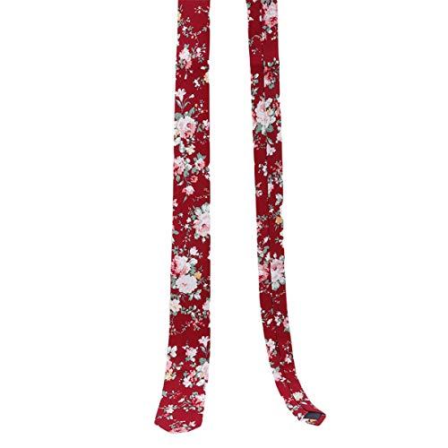 Danzh Tie Skinny Krawatte Blumendruck Baumwolle Krawatte Ideal für Hochzeiten Bräutigam Groomsmen Missionen Tänze Geschenke
