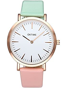 JSDDE Uhren,Fashion Cute Candy Farbe Damen Armbanduhr Grün-Pink Farbverlauf Kleid Uhr PU Lederband Analog Quarz...