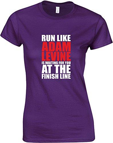 run-like-adam-levine-is-waiting-mesdames-t-shirt-imprime-pourpre-blanc-rouge-2xl-98-102cm