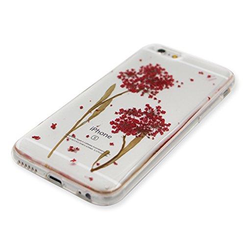 iPhone 6S Plus Hülle Weiches Silikon Gummi Schutz Case,iPhone 6 Plus Stilvoll Elegant Ultra Slim Dünn Passt Perfekt [ Echt Getrocknete Blumen Gepresste ] Klar Kristall Handyhülle,TPU Leicht Mode Soft  Rot Löwenzahn