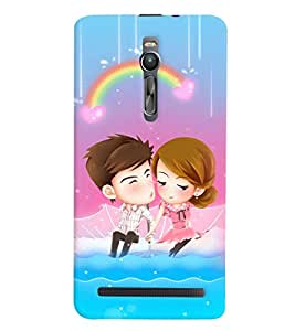 Printvisa Premium Back Cover Animated Romantic Couple With A Rainbow Background Design For Asus Zenfone 2::Asus Zenfone 2 ZE550ML