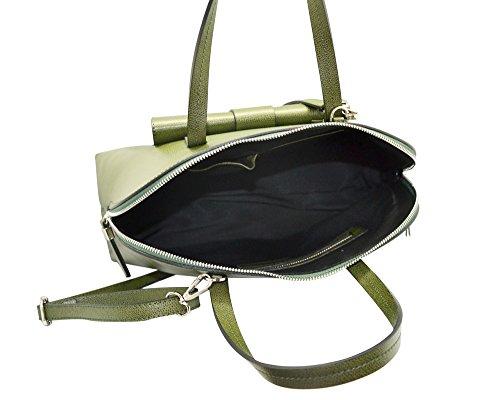 GEMMA Sac épaule, Sac forme bowling Satchel avec poche extérieure en cuir de grainé rigide, fabriqué en Italie noir