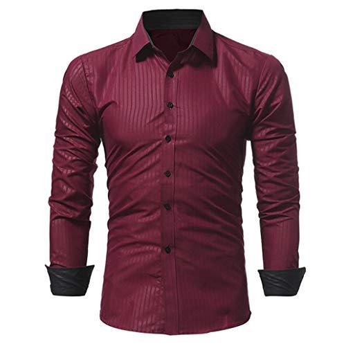 Preisvergleich Produktbild Streifen Herren Hemden Solid Color Male Casual LangarmshirtsGreatestPAK TopsWeinrotXL