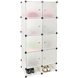 ts-ideen Meuble de rangement Etagère Meuble salle de bains Meuble à chaussures Coloris blanc Entrée, couloir, salle de bains, chambre
