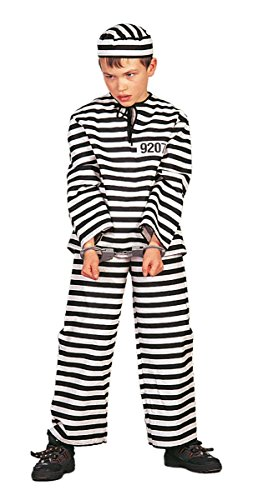 Gangster Kinder Kostüm Sträfling Gefangener Karneval Fasching (Kind Kostüm Sträfling)