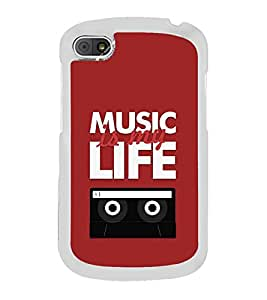 Fiobs Designer Back Case Cover for Blackberry Q10 (Music Life Message Quotes Tape )