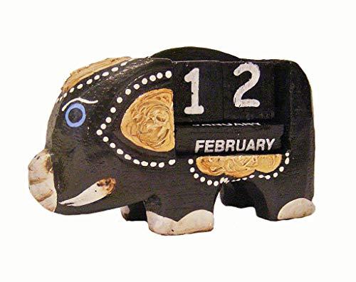Pequeño Negro Elefante calendario perpetuo, escritorio de madera adorno nuevo Shabby Chic