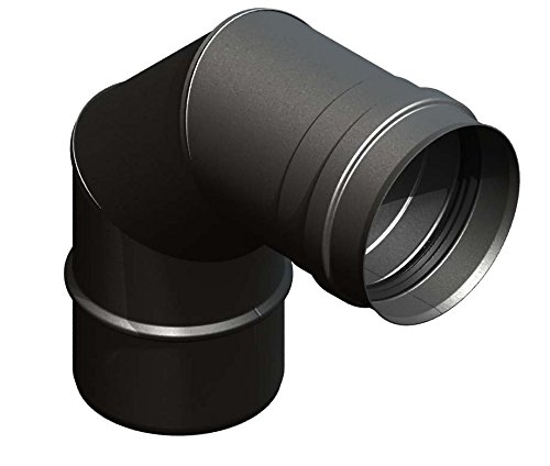 Pelletrohr Winkelelement 90° starr, Ø 80mm Durchmesser, Edelstahl schwarz lackiert