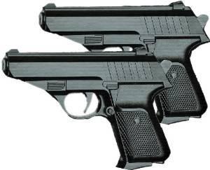 Soft-Air Metall Pistolen Waffen Spielzeug-Pistolen 6mm Frei ab 14 Jahren Schwarz Polizei-Kostüm (Kostüm 2 Person)