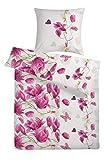 Carpe Sonno kuschelige Biber Bettwäsche 135 x 200 cm Weiß Lila Rosa Blume - Winterbettwäsche mit Reißverschluss aus 100% Baumwolle Flanell - 2-TLG Bettwäsche Set mit Kopfkissen-Bezug