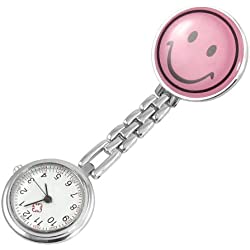 Gleader Pink Smiling Face Design Brooch Arabic Numerals Nurse Watch For Women