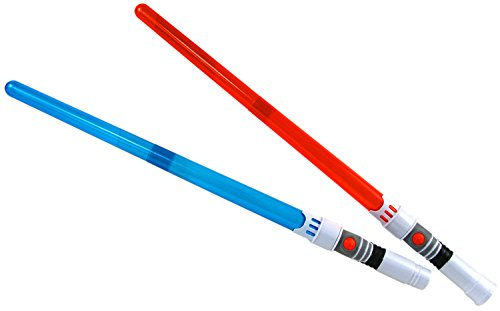 2 Stück Lichtschwert Laserschwert 65cm Licht Sound Ledschwert zusammenbaubar