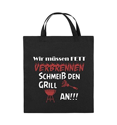 Comedy Bags - Wir müssen Fett verbrennen schmeiß den Grill an!!! - Jutebeutel - kurze Henkel - 38x42cm - Farbe: Schwarz / Weiss-Neongrün Schwarz / Weiss-Rot