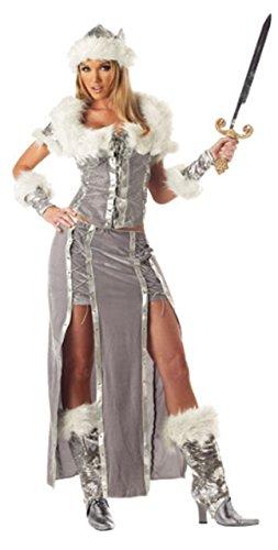Kostüm Vixen Halloween - Fancy Me Damen 5 Stück Sexy Wikinger Vixen historisch büchertag Halloween historisch Kostüm Kleid Outfit - grau, 8-10