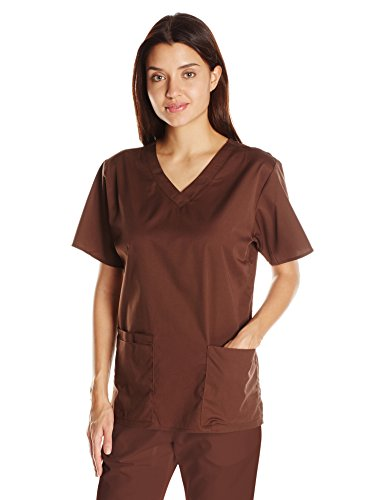 Tops 4x Scrub (WonderWink Women's Plus Size WonderWORK V-Neck Scrub Top, Chocolate, 4X-Large)