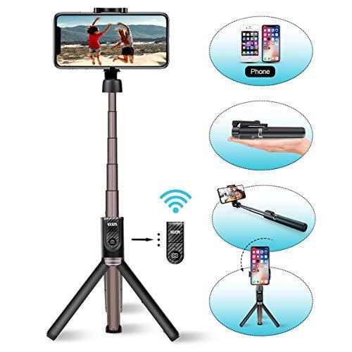 Viixm Perche Selfie Bluetooth Selfie Stick Trépied Télécommande Amovible 3-en-1Rotation 360° Alliage d'Aluminium Support Stable Bâton Selfie Télescopique pour iPhone Samsung Huawei MI Sony etc