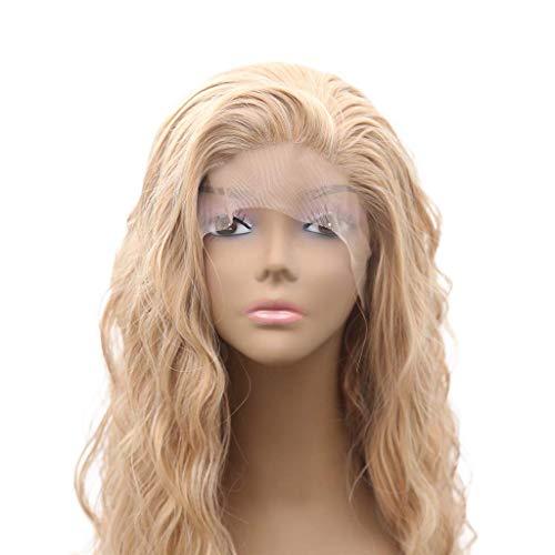 GLXLSBZ Perücken Damen Echthaar Blond, Frauen goldene Lace Front Haar volle Perücke natürliche wie Menschenhaar Frauen Flachs Flauschige wellige lockige