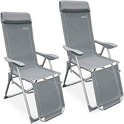 Casaria - Lot de 2 Fauteuils de jardin pliable • Réglage 7 positions • Chaise longue pliante • Transat • Appui-tête & Repose-pieds - Jardin terrasse camping
