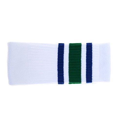 Choobes (Unisex) 22 Zoll Knie hoch Weiße Röhrensocken mit Royal Blue / Green Streifen