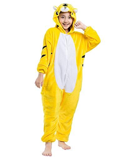 DELEY Unisex Kinder Pyjamas Onesie Cartoon Tier Nachtwäsche Kapuzen Strampelanzug Halloween Cosplay Kostüm Tiger - Tiger Strampelanzug Kostüm