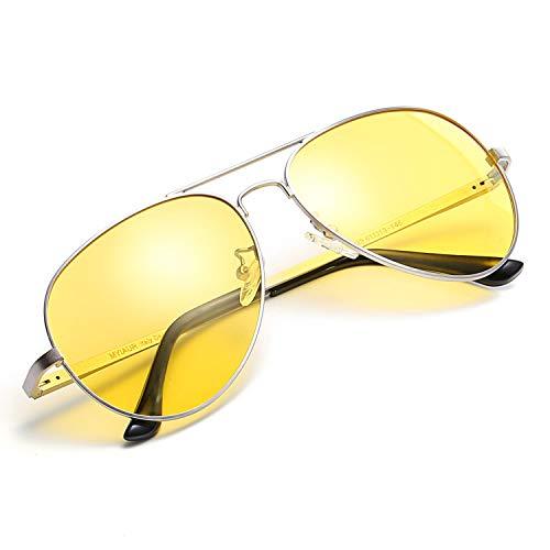 Myiaur HD Nachtsichtbrille für komfortables Fahren, gelbe Linse, Pilotenfahrer-Sonnenbrille (silber/gelb)