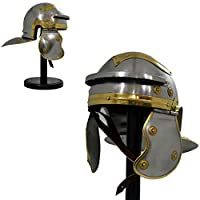 The New Antique Store - Medieval Roman Centurion Trooper Armour Helmet Replica Costume LARP Hats Without Plume With Display Stand, Adult Size