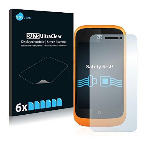 Savvies Schutzfolie kompatibel mit ZTE Open L (6 Stück) - ultraklare Bildschirmschutz-Folie