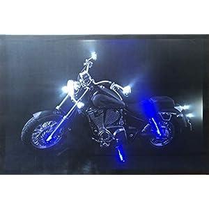 Samarkand-Lights LED-Bild mit Beleuchtung LED- Bilder Leinwandbild 65 x 45 cm Leuchtbild Motorrad