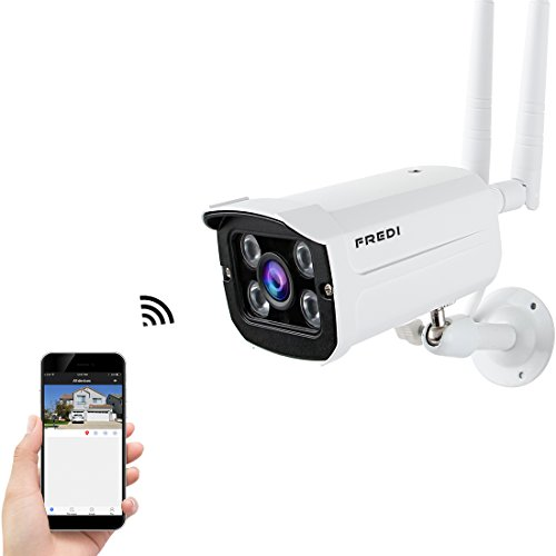 FREDI Outdoor Wifi Network CCTV Camera IP Wireless HD 720p Security Weatherproof with Night Vision IR, App View, Motion Detection and Power Supply (SD card NOT INCLUDED)